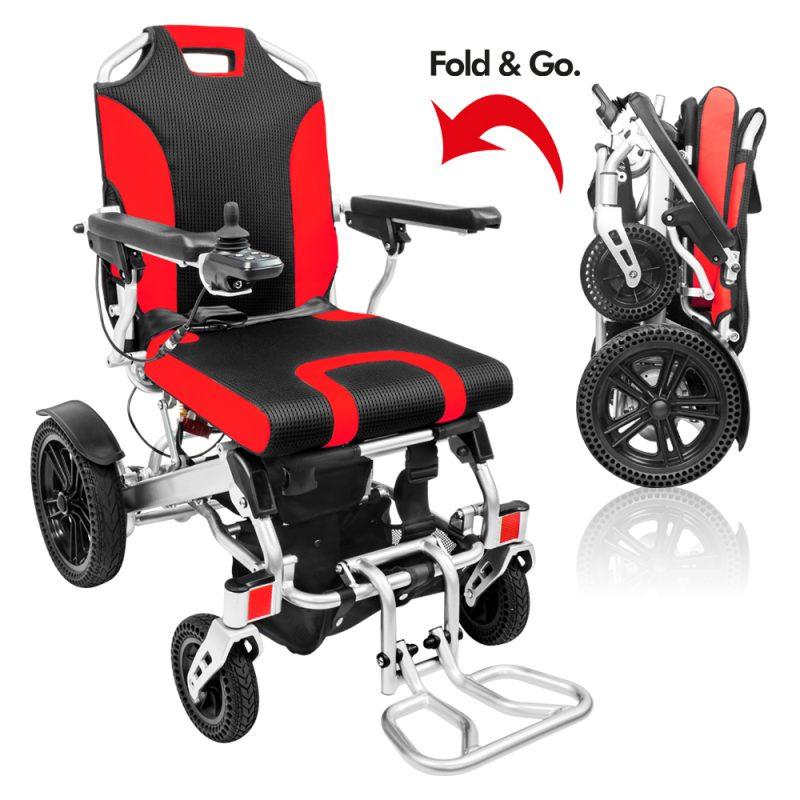 Hook-i POP Fold&Go Folding Electric Wheelchair - Red